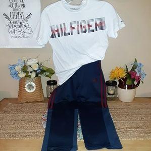 Boy's 10/12 HILFIGER/ADIDAS tee & athletic pants